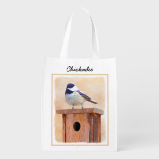 Sacola Ecológica Chickadee na pintura do Birdhouse - pássaro