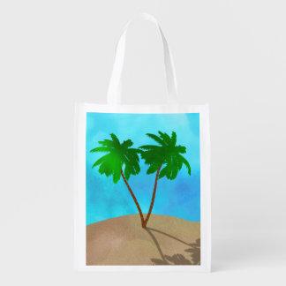 Sacola Ecológica Colagem da cena da praia da palmeira da aguarela