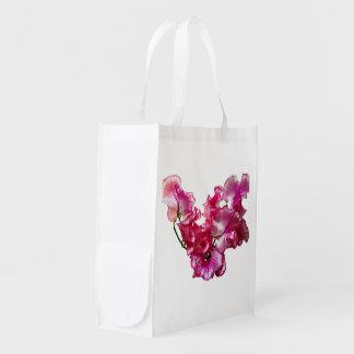 Sacola Ecológica Coração cor-de-rosa da ervilha doce