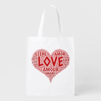 Sacola Ecológica Coração ilustrado com palavra do amor