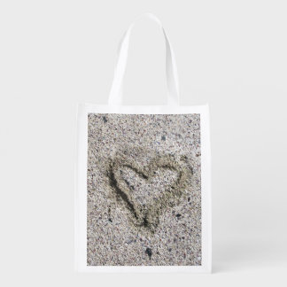 Sacola Ecológica Coração romântico na areia