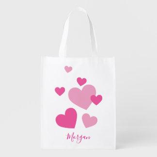 Sacola Ecológica Corações cor-de-rosa bonito