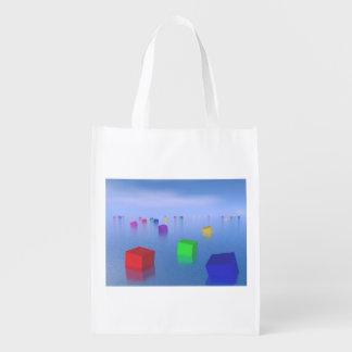 Sacola Ecológica Cubos coloridos que flutuam - 3D rendem