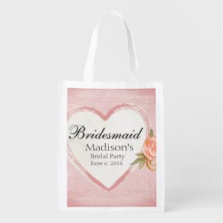 Sacola Ecológica Dama de honra cor-de-rosa tradicional & romântica