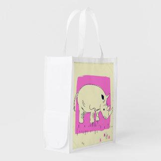 Sacola Ecológica Desenhos animados do rinoceronte do estilo do