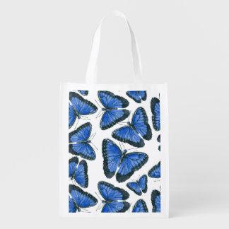 Sacola Ecológica Design azul do teste padrão de borboleta do morpho