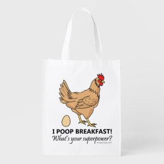 Sacola Ecológica Design engraçado do pequeno almoço dos tombadilhos