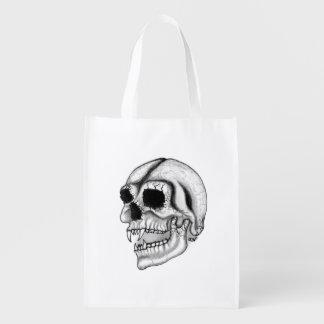 Sacola Ecológica Design preto e branco do crânio do vampiro
