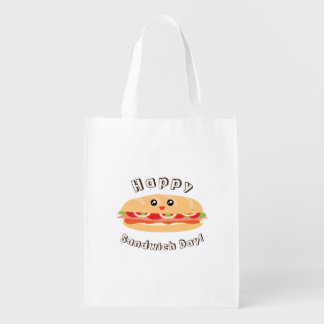 Sacola Ecológica Dia nacional feliz do sanduíche bonito e Kawaii