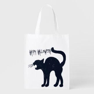 Sacola Ecológica Doçura ou travessura do gato preto do Dia das