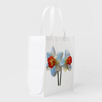 Sacola Ecológica Dois brancos e Daffodils alaranjados