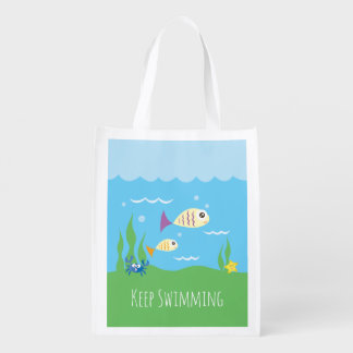 Sacola Ecológica Engraçado apenas mantenha nadar peixes