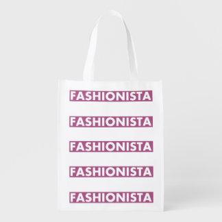 Sacola Ecológica Entalhe corajoso do texto do Fashionista roxo