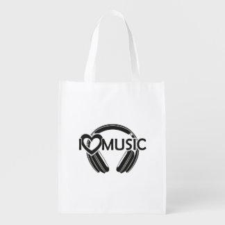 Sacola Ecológica Eu amo fones de ouvido da música