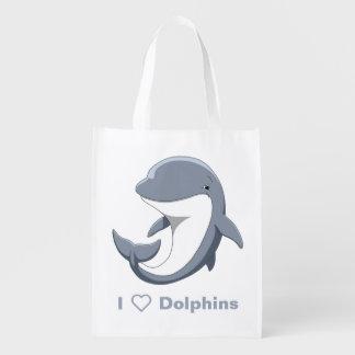 Sacola Ecológica Eu amo o Bottlenose bonito dos golfinhos