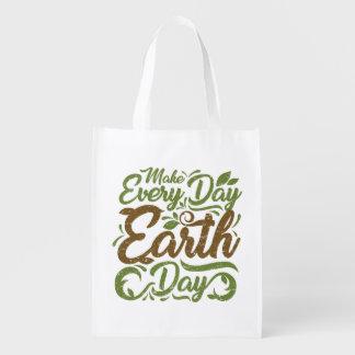 Sacola Ecológica Faça cada saco reusável do Dia da Terra do dia