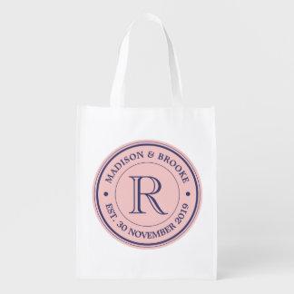 Sacola Ecológica Faça seu próprio monograma do logotipo do rosa de