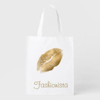 Sacola Ecológica Fashionista dos lábios do ouro