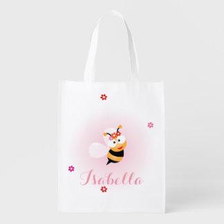 Sacola Ecológica Favor cor-de-rosa feminino bonito do casamento da