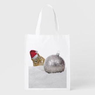 Sacola Ecológica Feriado bonito da prata do Chipmunk e do Natal da