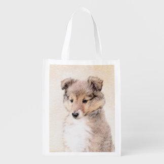 Sacola Ecológica Filhote de cachorro do Sheepdog de Shetland que