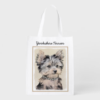 Sacola Ecológica Filhote de cachorro do yorkshire terrier que pinta