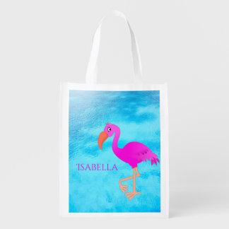 Sacola Ecológica Flamingo tropical cor-de-rosa e feminino bonito no