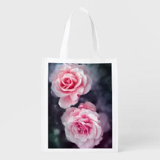 Sacola Ecológica Foto floral dos rosas cor-de-rosa na moda