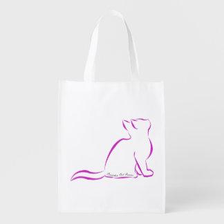 Sacola Ecológica Gato cor-de-rosa, silhueta, texto interno