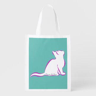Sacola Ecológica Gato cor-de-rosa, suficiência branca, texto