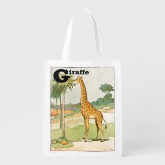 Sacola Ecológica Girafa que come a acácia no deserto