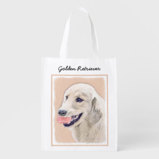 Sacola Ecológica Golden retriever com arte do cão da pintura da