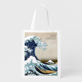 Sacola Ecológica Grande onda restaurada fora de Kanagawa por
