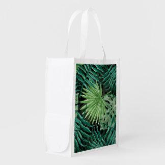 Sacola Ecológica Grande palma de samambaia verde e plantas