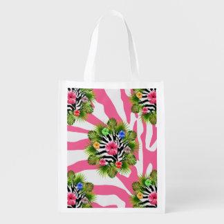 Sacola Ecológica Hibiscus tropical e listras cor-de-rosa exóticas
