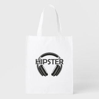 Sacola Ecológica Hipster dos fones de ouvido da música