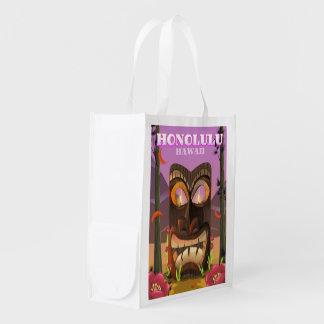 Sacola Ecológica Honolulu Havaí o poster de viagens da máscara