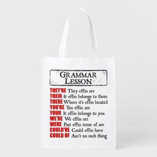 Sacola Ecológica Humor da lição de gramática de Effin são seus lá