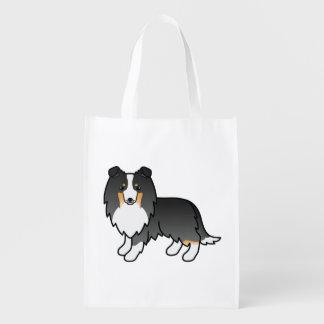 Sacola Ecológica Ilustração Tricolor do cão do Sheepdog de Shetland