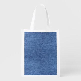 Sacola Ecológica Imagem branca azul do olhar da textura da sarja de