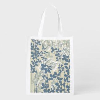 Sacola Ecológica Impressão azul floral das flores da arte asiática