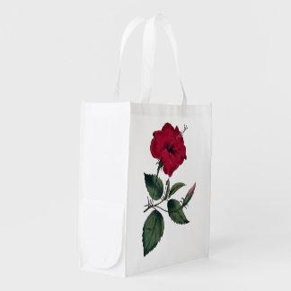 Sacola Ecológica Impressão botânico do hibiscus vermelho