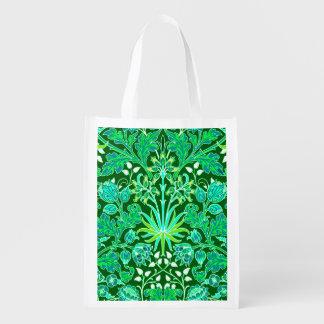 Sacola Ecológica Impressão do jacinto de William Morris, verde