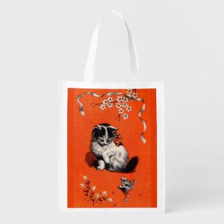 Sacola Ecológica impressão pequeno doce do gatinho e do sapo