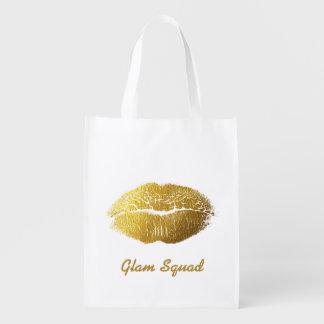 Sacola Ecológica Lábios Glam do ouro