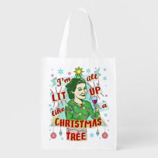 Sacola Ecológica Lit retro da mulher do humor do bebendo do Natal