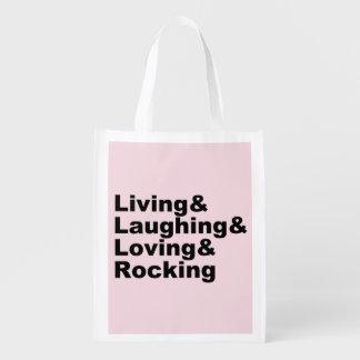 Sacola Ecológica Living&Laughing&Loving&ROCKING (preto)