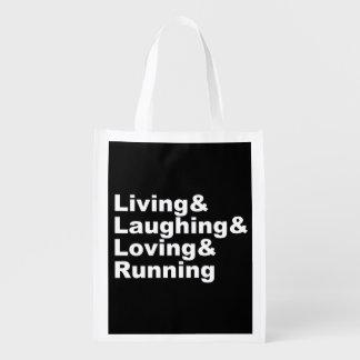 Sacola Ecológica Living&Laughing&Loving&RUNNING (branco)