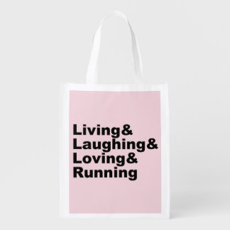 Sacola Ecológica Living&Laughing&Loving&RUNNING (preto)