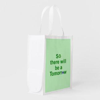 Sacola Ecológica Luz reusável do saco - verde com texto